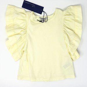 Habitual Girl Flutter Sleeve Top Yellow